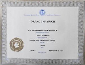 GCH Hamburg vom Ringshof FC I nach Franka FCI  und Doktor von Rominten FCI